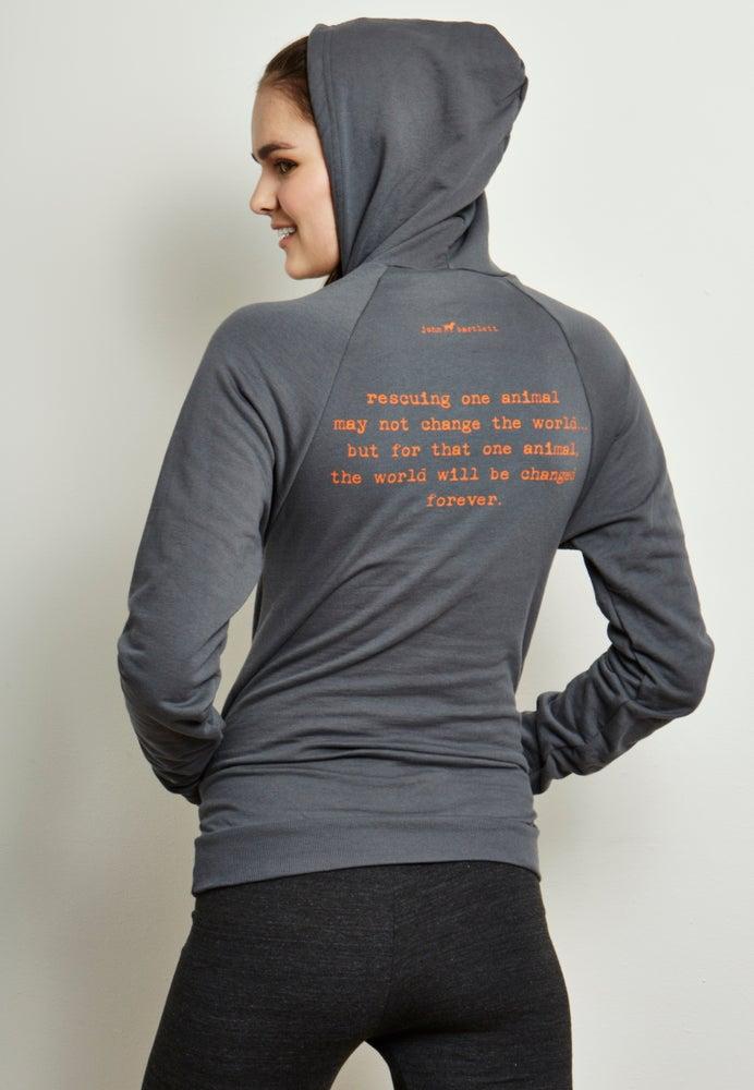 Image of girl's unisex-sized steel grey tiny tim fleece hoodie