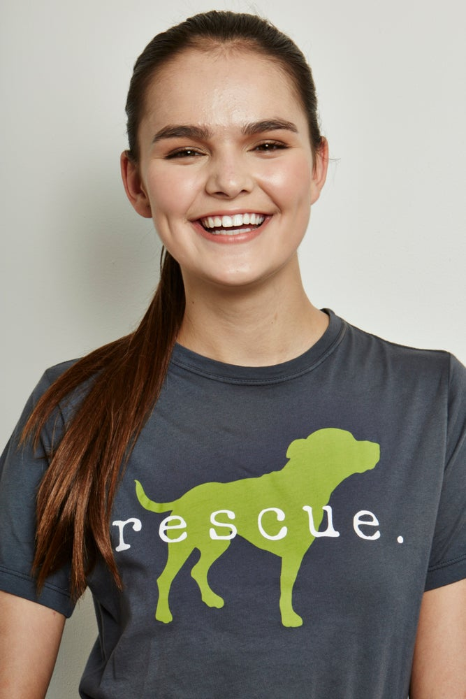 "Image of girl's unisex-sized premium concrete/lime ""rescue"" tee"