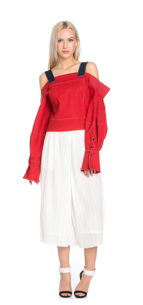 Image of Sexy OVERALL Red Denim Top