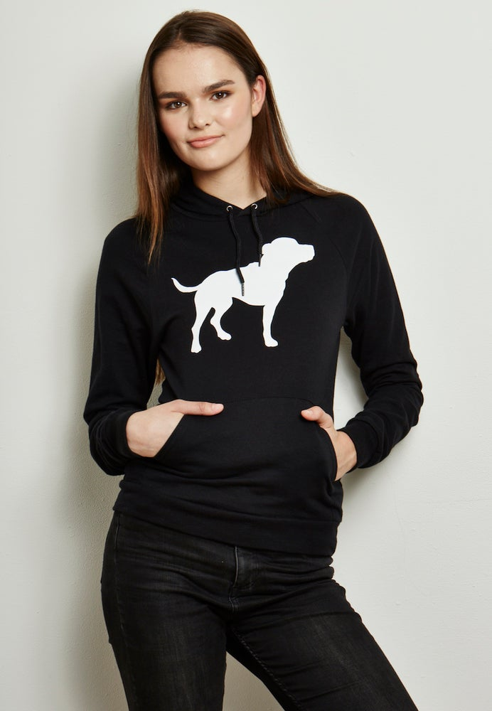 Image of girl's unisex-sized black/white tiny tim fleece hoodie