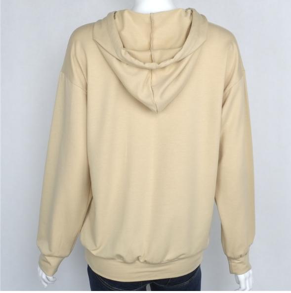 Image of Khaki bats sleeve printing hooded sweater Women