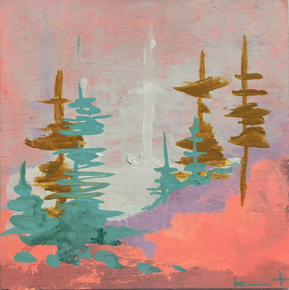 Image of tiny painting no. 53 (foggy teal, ochre, soft vermillion)