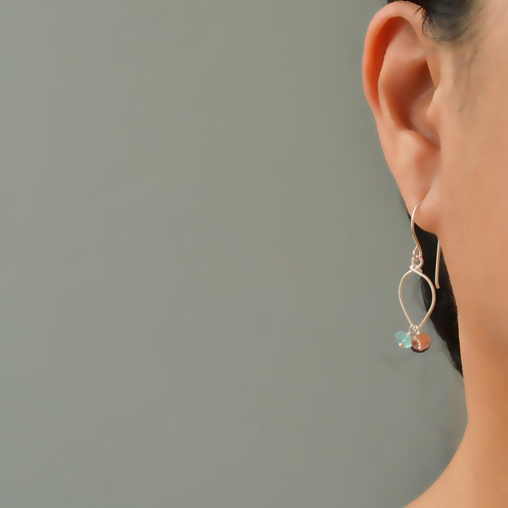Image of Lapis lazuli earrings sterling silver sunstone rainbow moonstone lotus loop