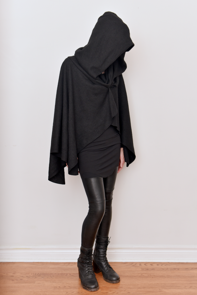 Image of Mythic Hooded Wool Cape- Black