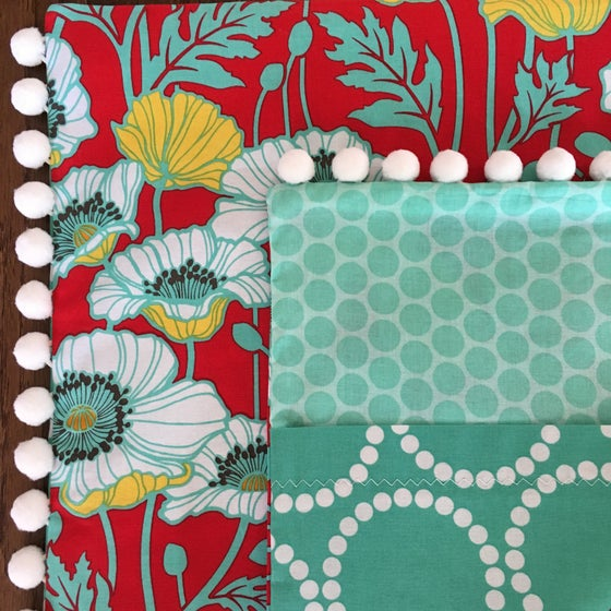 Image of Red & Aqua Poppies Pillow Sham