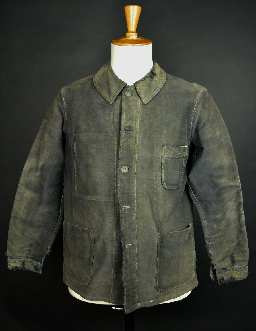 Image of 1930'S FRENCH BLACK MOLESKIN WORK JACKET YELLOW PATINA