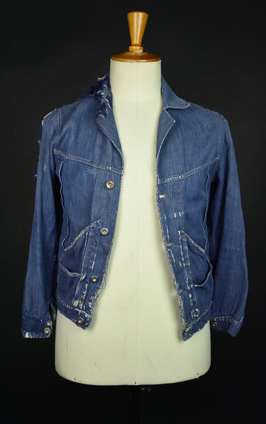 Image of 1950'S FRENCH INDIGO DENIM JACKET DISTRESSED