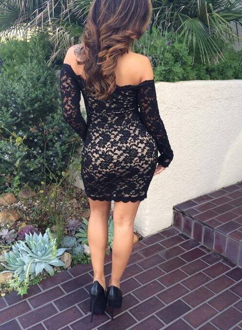 Image of CUTE ONE WORD LACE LONG SLEEVE DRESS
