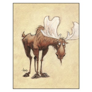 """Image of """"Wilbur Slowly Realizes He Forgot Where He Parked"""" Moose Print"""
