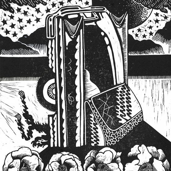 Image of 'We Are All Descended From This Metal' Linocut Print