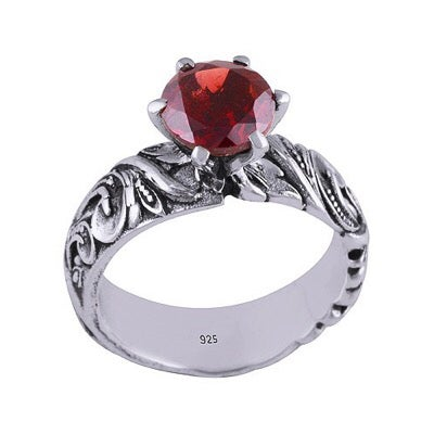 Image of Sterling Silver & Garnet Afterlife Ring
