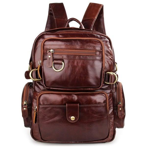 Image of Handmade Antique Leather Backpack / Messenger Bag 2 Ways Bag Travel Bag (n86)