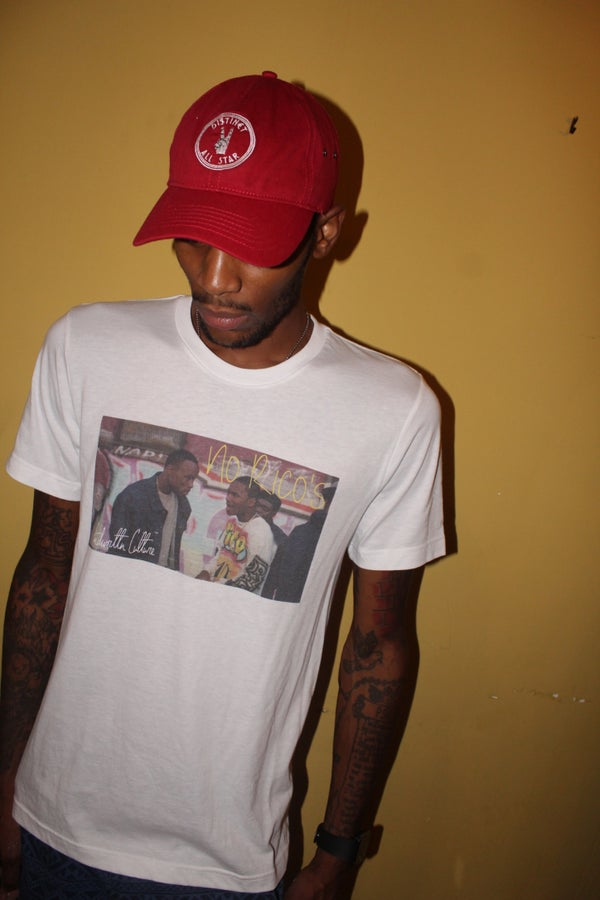 Image of White Rico's T-Shirt/Red Distinct All-Star Cap