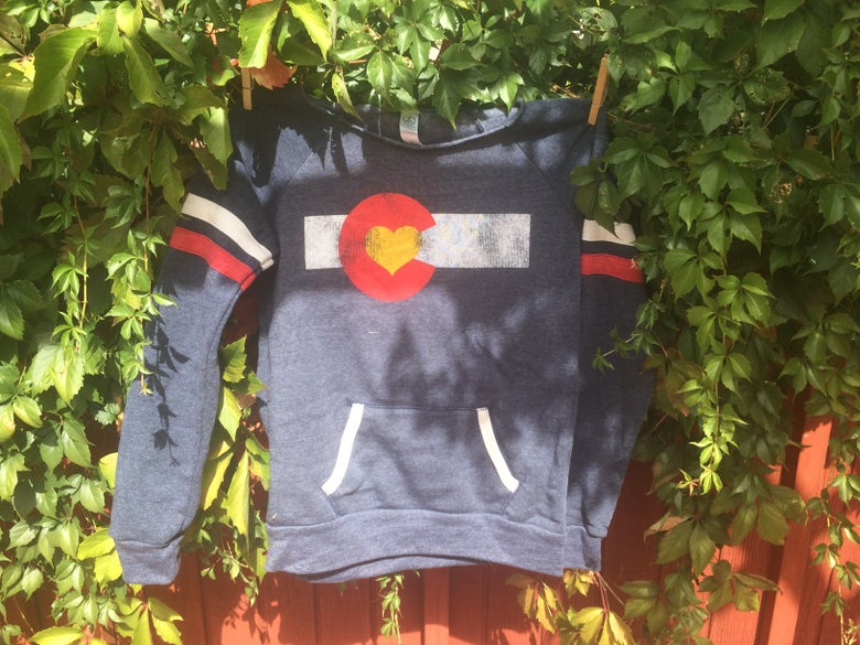 Image of Colorado Love Slouchy Sweatshirt- Navy with Stripes