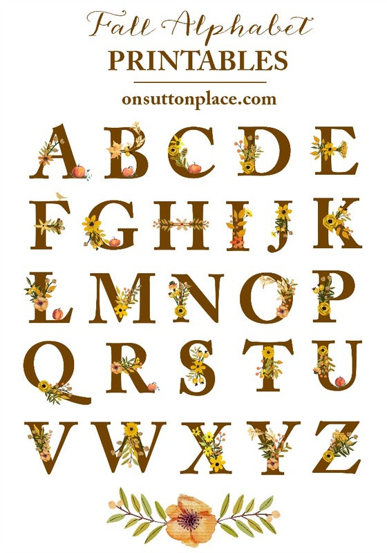 Image of Fall Floral Alphabet Printables