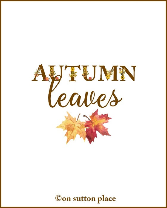 Image of AUTUMN LEAVES Fall Floral Alphabet Printable