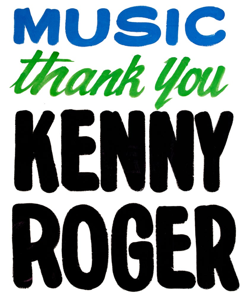 Image of Thank You Kenny Roger Print by Nurse Signs