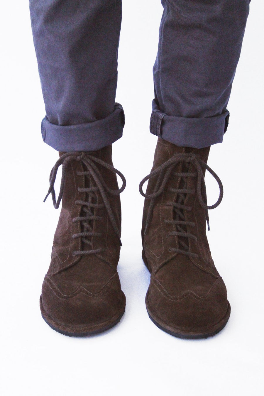 Image of Lace up boots - Brogued Wingtip in Dark Brown Suede