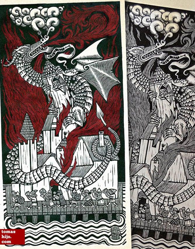 Image of Smaug's fury / La furia de Smaug (b/w & color)