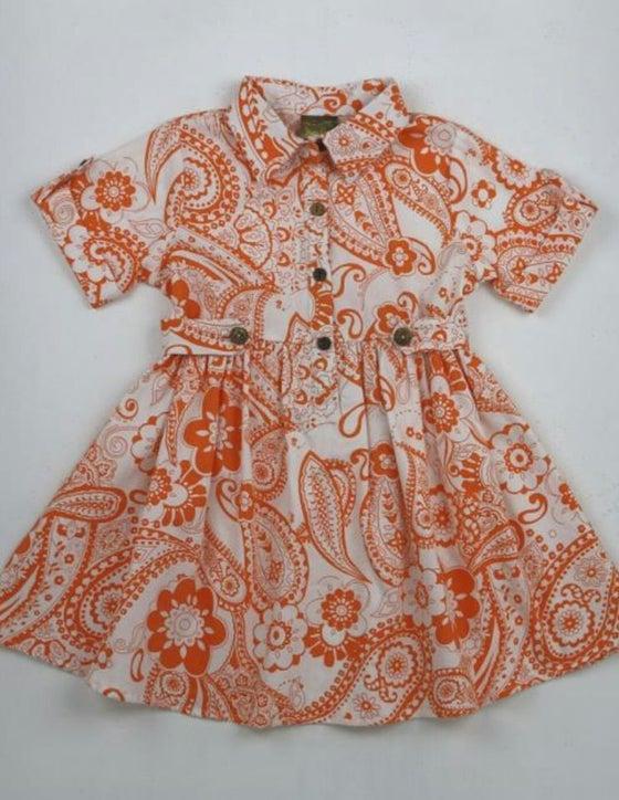 Image of Orange Floral Dress
