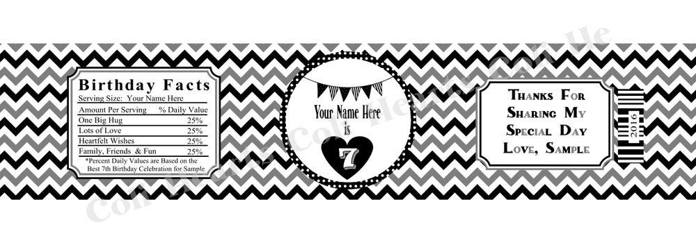 Chevron Birthday Banner Water Bottle Label 5 per sheet Coli Hearts – Sample Water Bottle Label