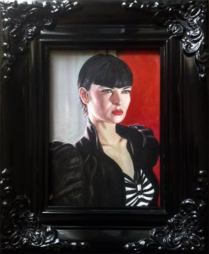 Image of Lacy in Striped Shirt - Framed Original Oil Painting 5x7