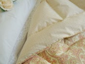 Image of  Pretty Cream and Green Paisley  With Pink Dots Eiderdown