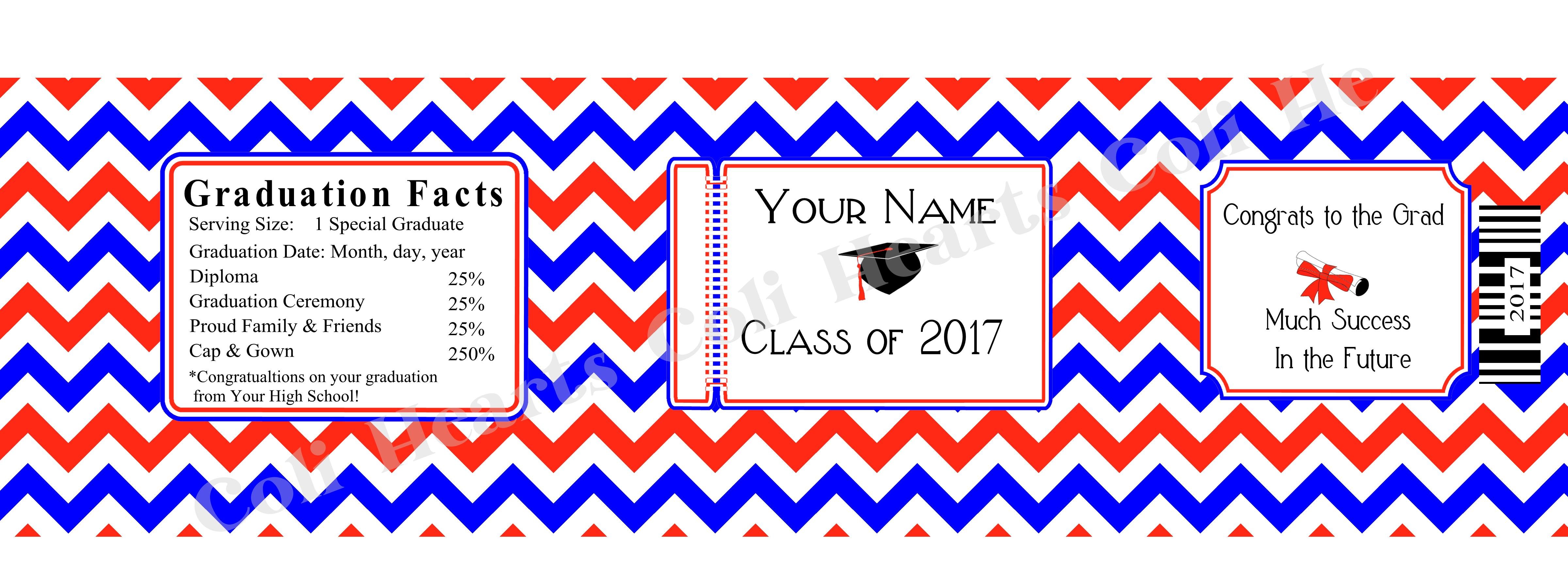 Chevron Graduation Water Bottle Labels  Per Sheet  Coli Hearts