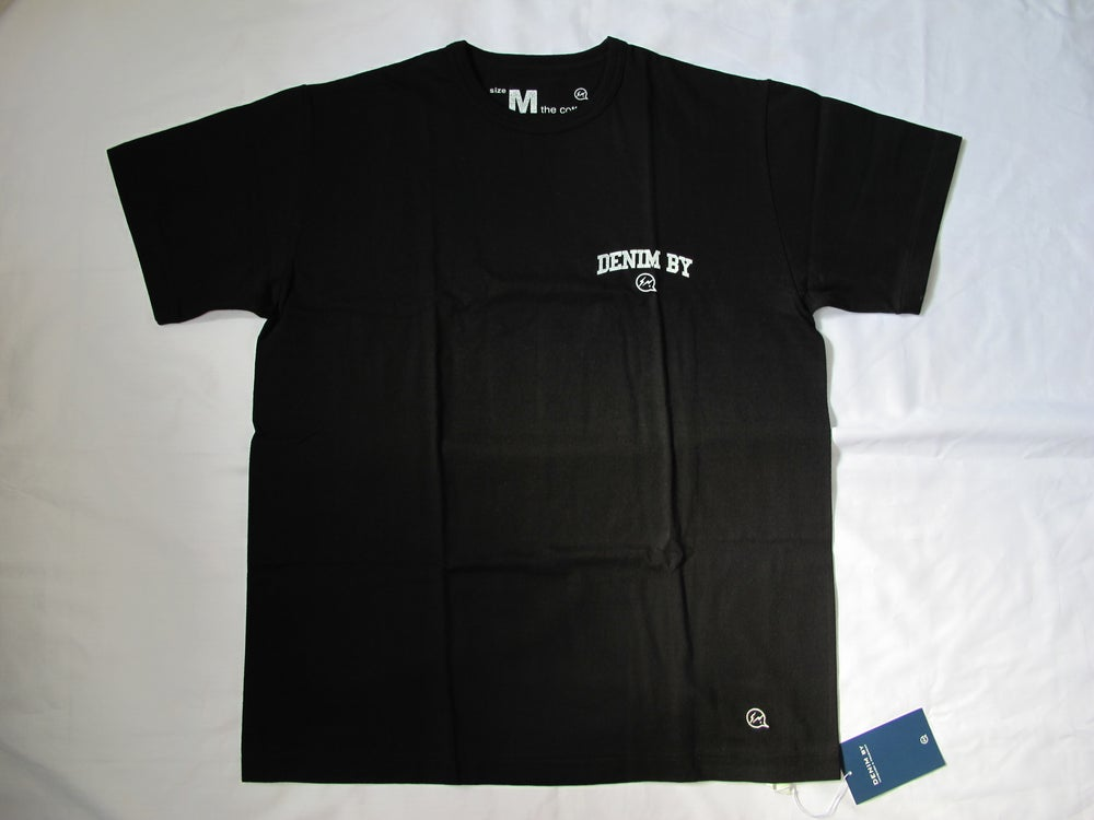 Image of Denim BY VANQUISH & FRAGMENT - Round Denim Logo Crew neck Tee (Black)