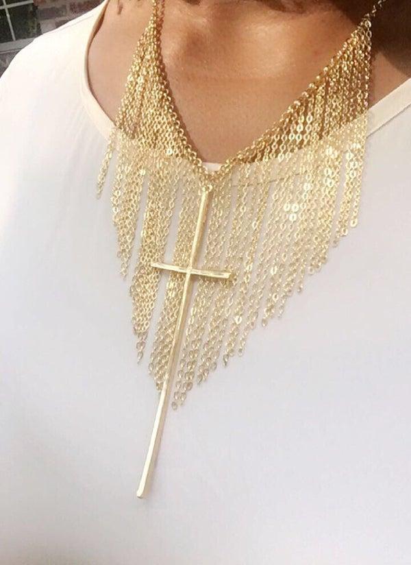 Image of Fringe Cross Necklace