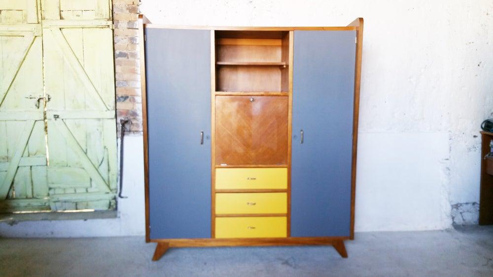 Image of Grande armoire secrétaire pieds compas Vintage