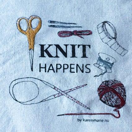 Image of KNIT HAPPENS totebag