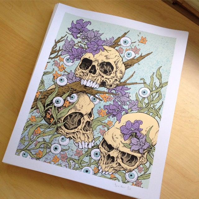 Image of 3 Skull Garden Art Print