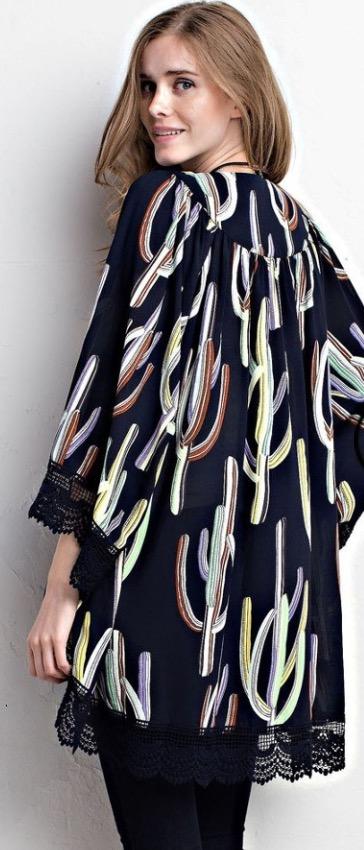 Image of Lace Trim Kimono