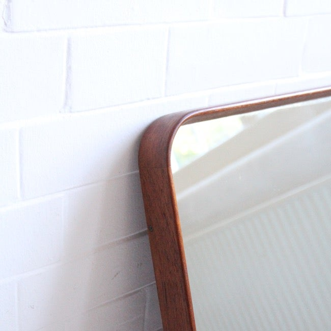 Image of Midcentury mirror with bentwood frame