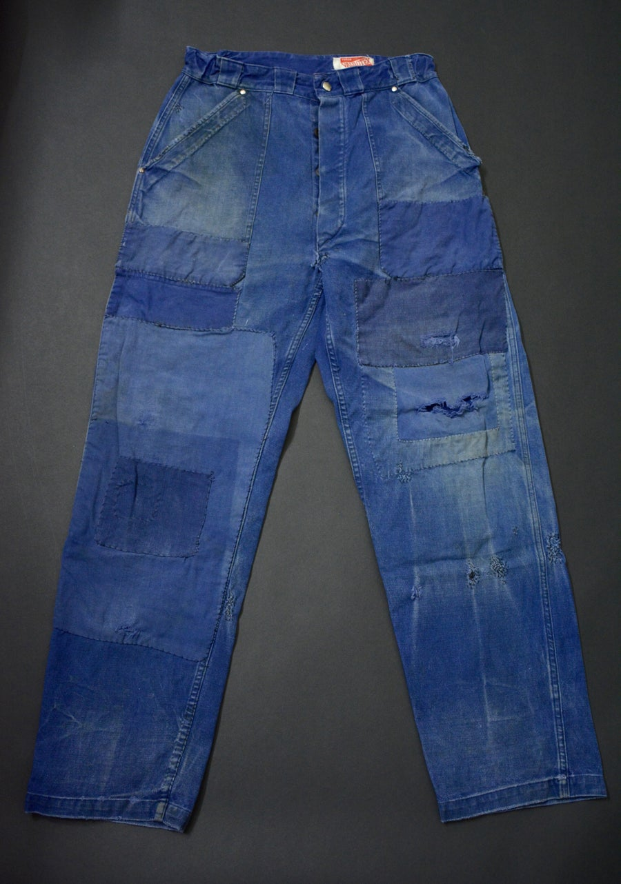 Image of 1940'S FRENCH INDIGO PANTS FADED DARNED & PATCHED