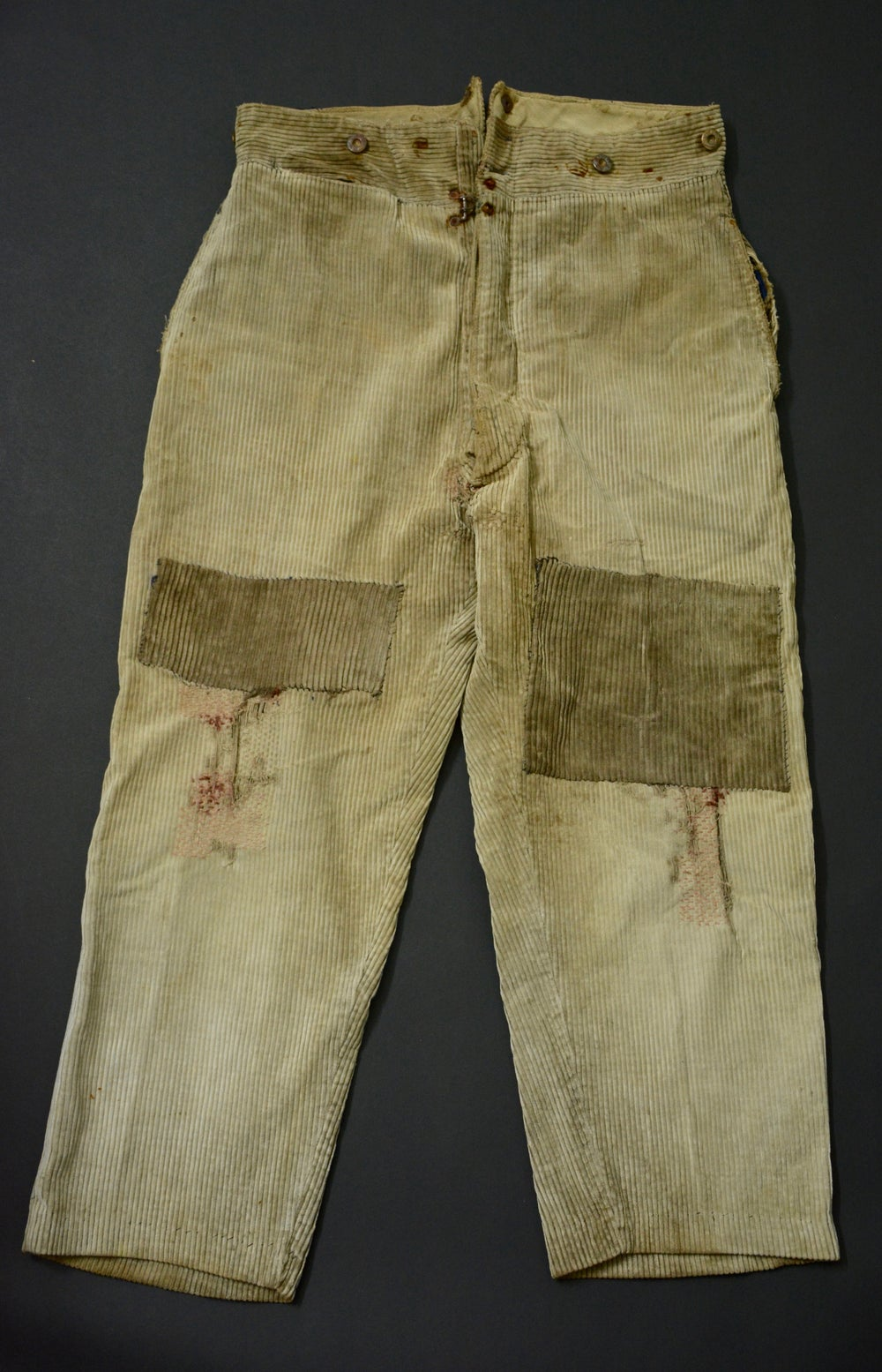 Image of 1910'S FRENCH BEIGE CORDUROY PANTS FADED & PATCHED