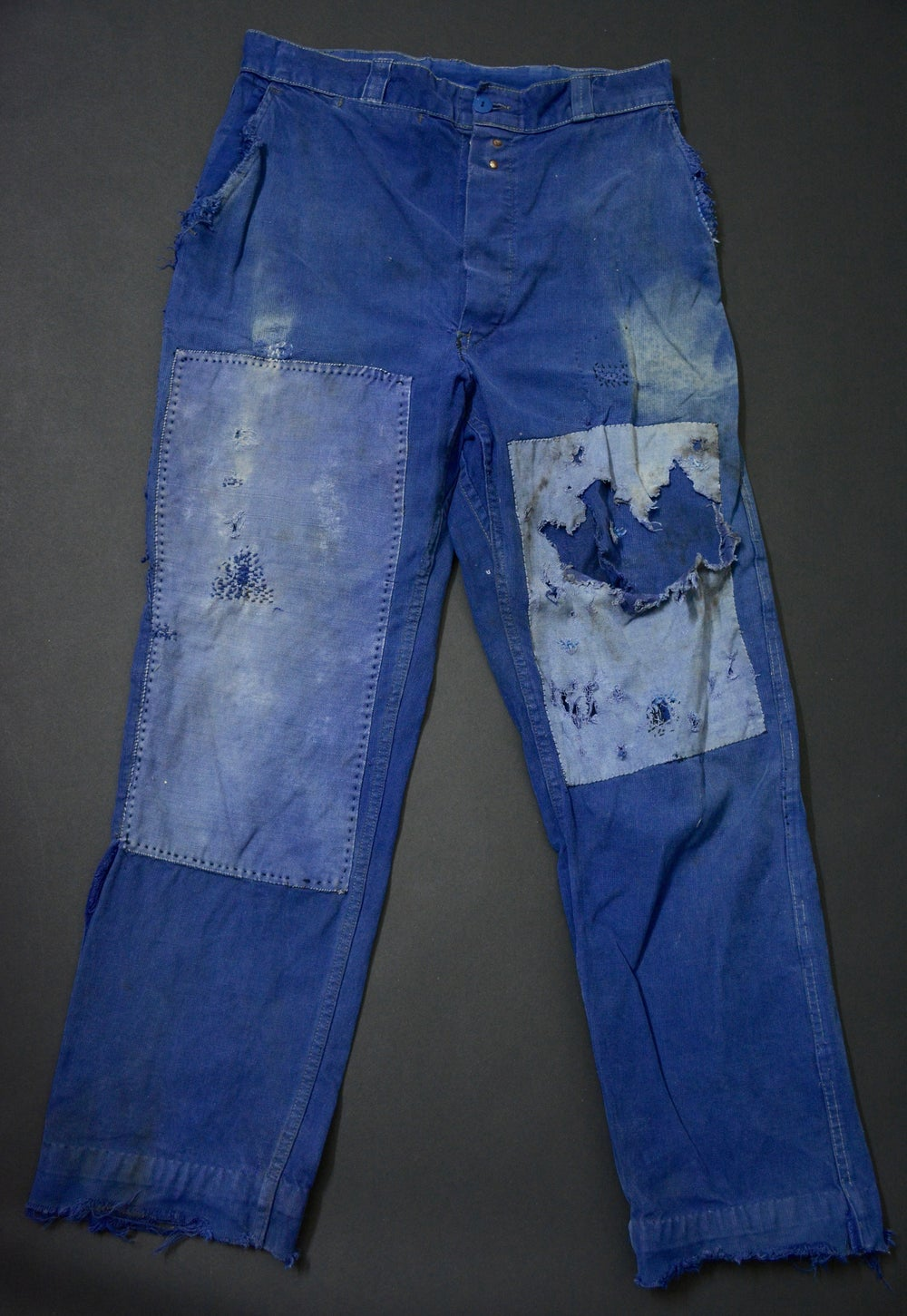 Image of 1950'S FRENCH INDIGO PANTS FADED DARNED & PATCHED