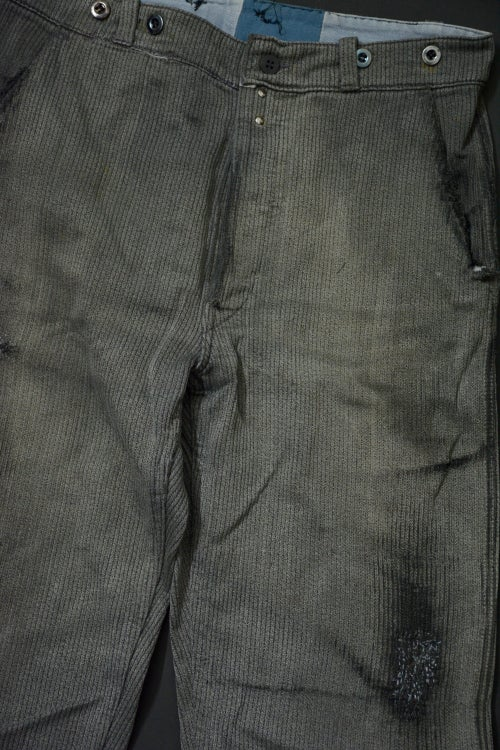 Image of 1940'S FRENCH STRIPPED SATL N' PEPPER COUTIL BEDFORD CORDS PANTS FADED