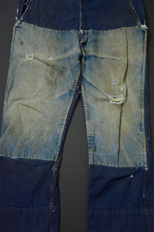 Image of 1960's FRENCH DENIM PANTS FADED PATCHED