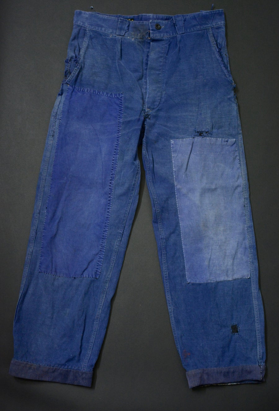 Image of 1950'S FRENCH INDIGO PANTS FADED DARNED & PATCHED 1