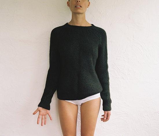 Image of Ribbed Khaki Cashmere Jumper