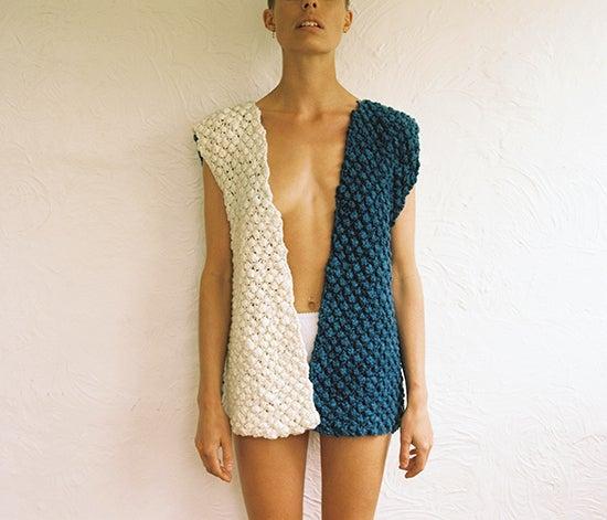 Image of Handspun Merino Indigo Vest