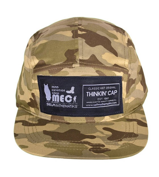 "Image of ""MILITANTE CAMO"" 5 PANEL, GENUINE LEATHER STRAP BACK ""THINKIN' CAP"""