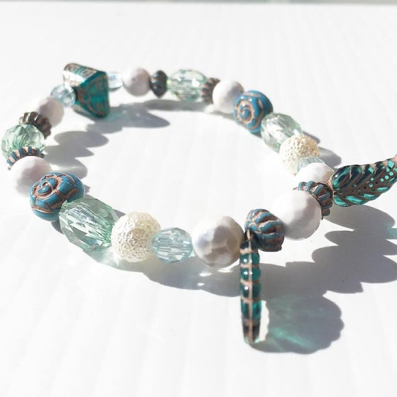 Image of Shamanic Water/Air Flow ~ Dragon Veined Agate, feathers and Crystals and Tribal Ceramic Beads