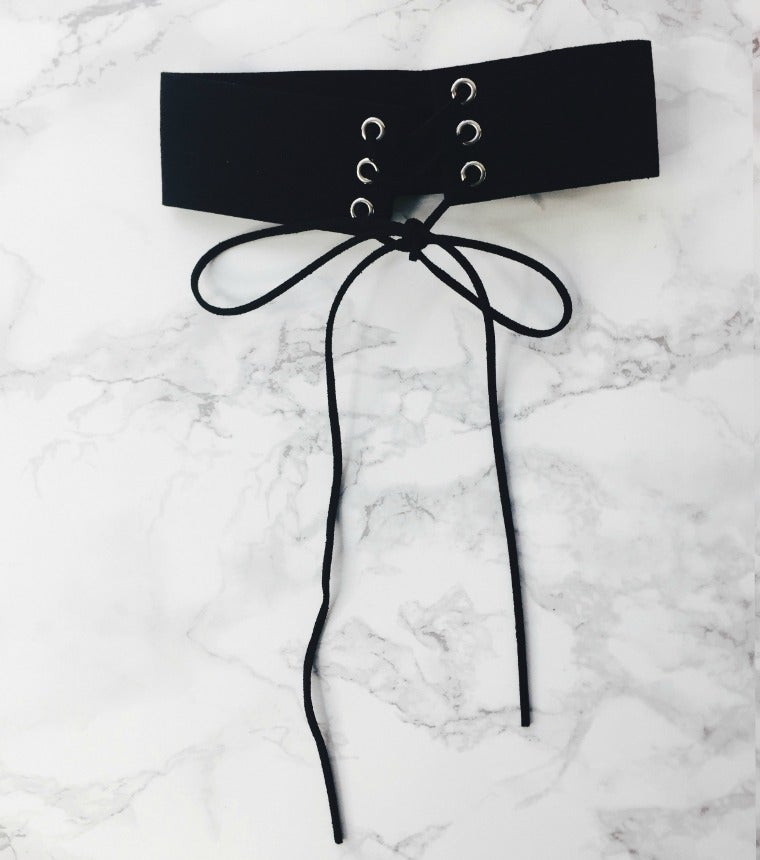 Image of Black Suede Lace Up* Choker