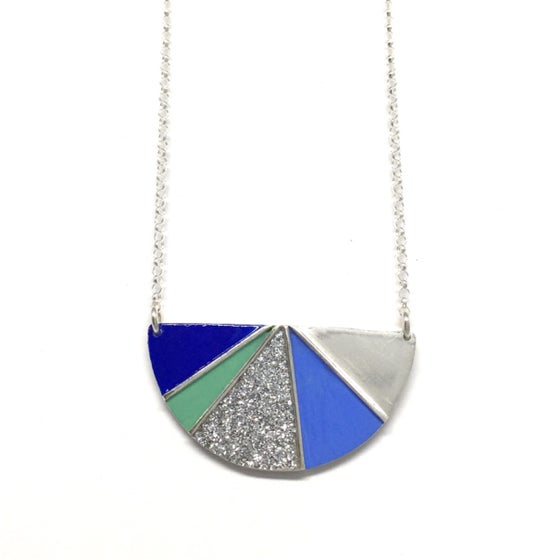 Image of Divided Half Round Necklace - Cool Glitter