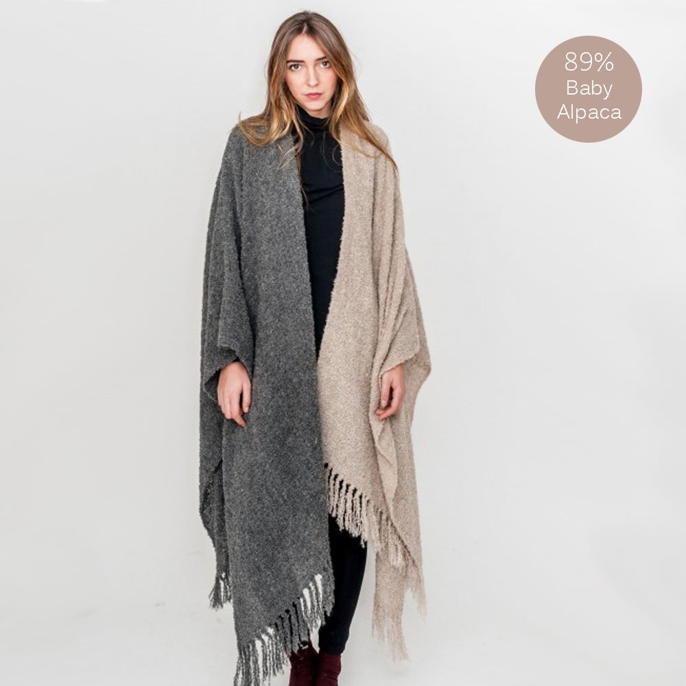 Image of BOHO Baby Alpaca Wool Poncho Beig and Grey