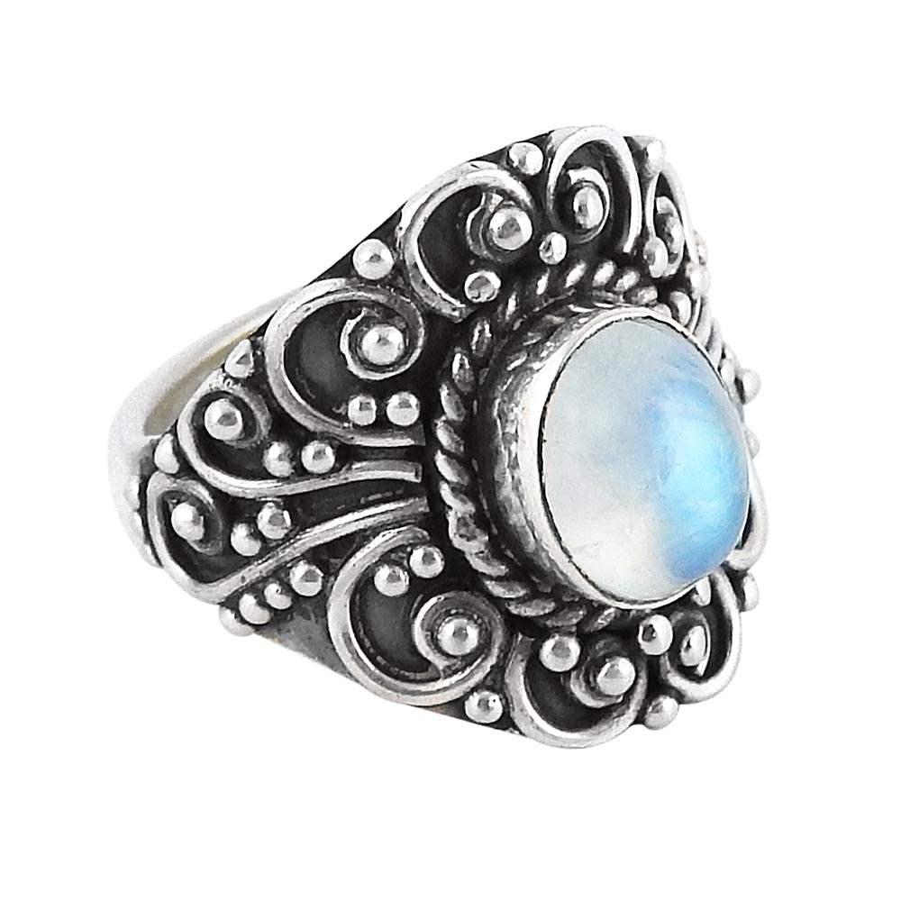 Image of Sterling Silver & Rainbow Moonstone Lydia Ring
