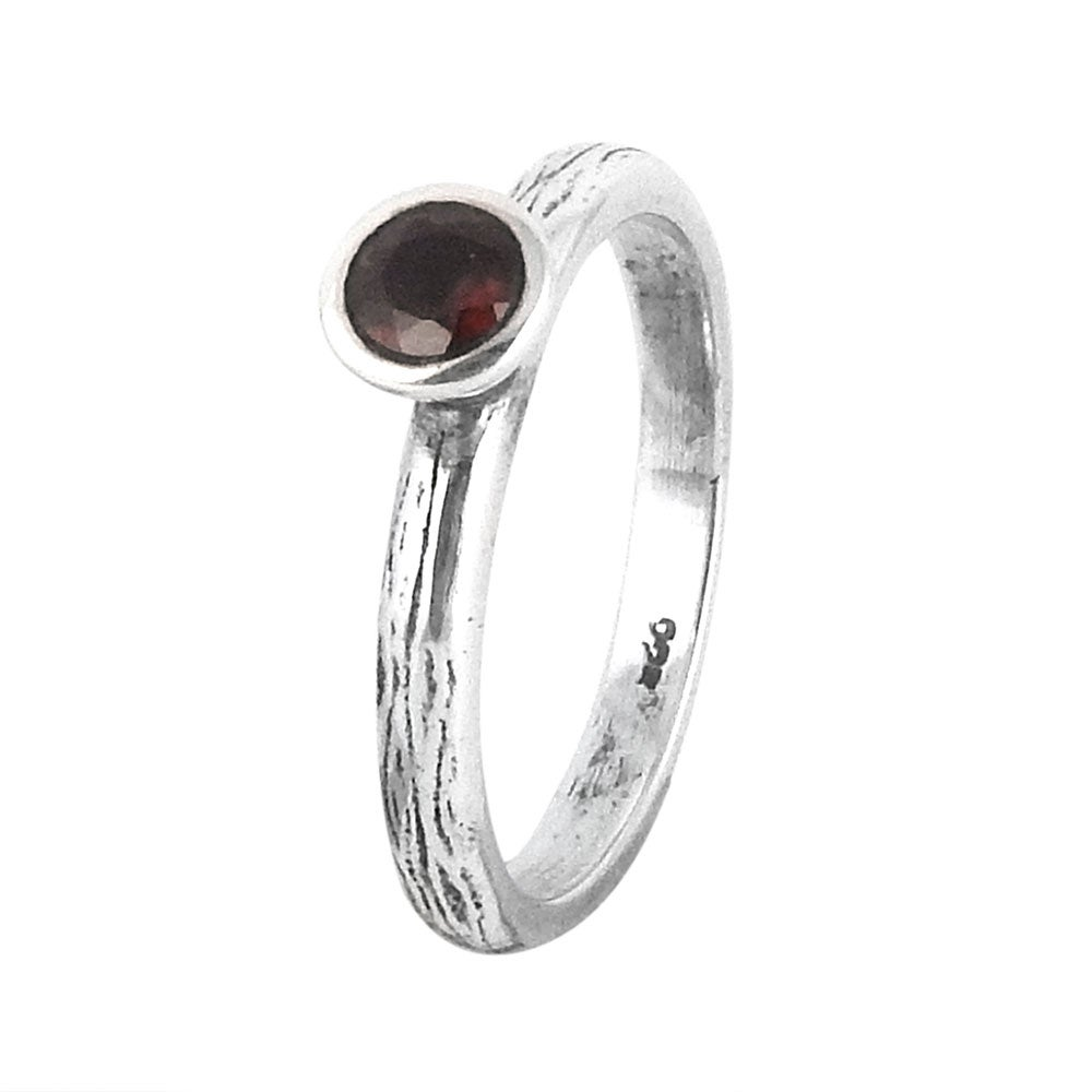 Image of Sterling Silver & Garnet True Love Ring